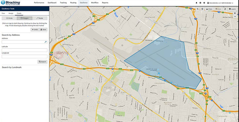 Geofencing with Btracking