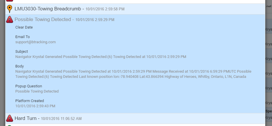 Towing Alerts